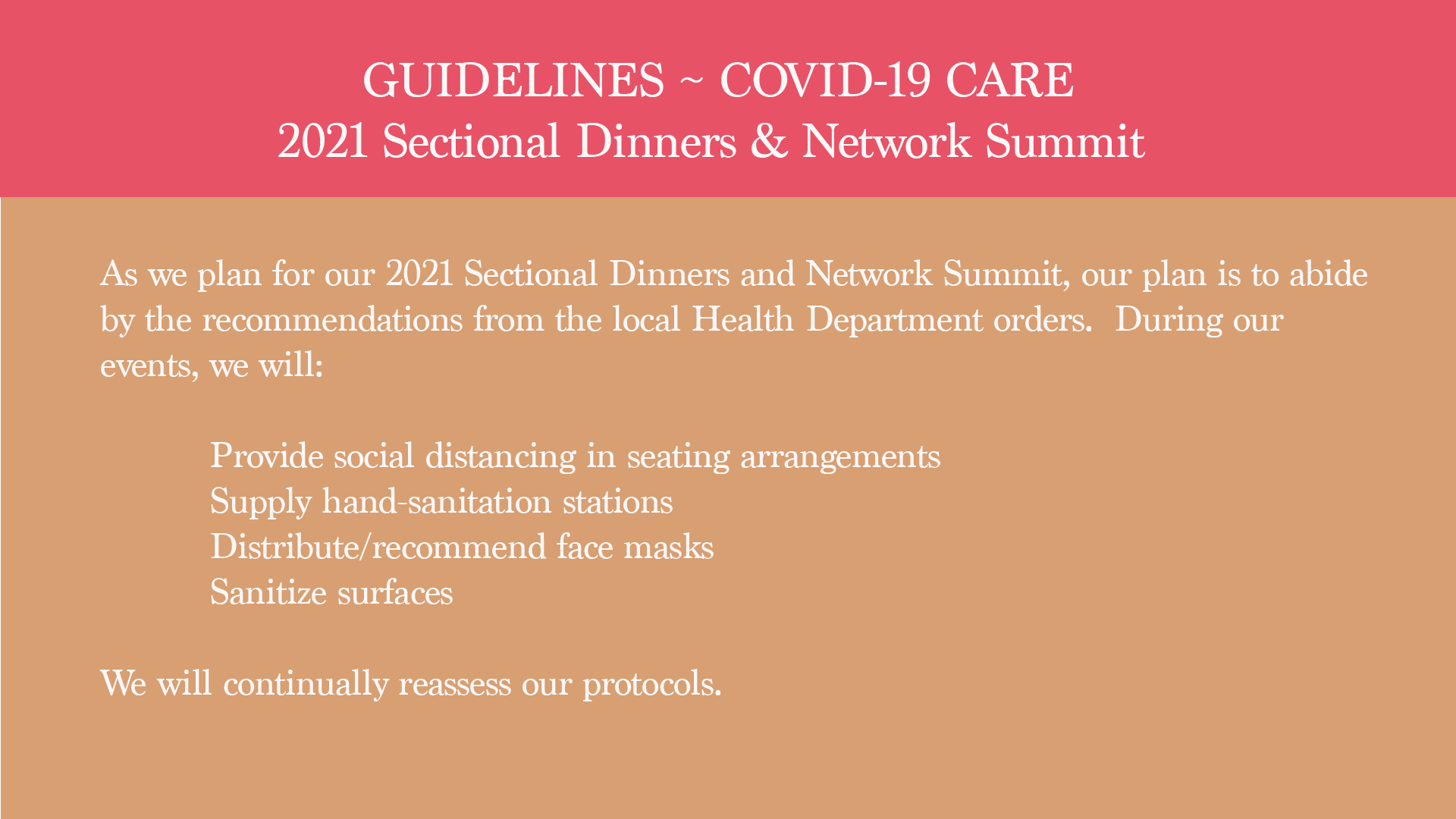 COVID GUIDELINES 2021